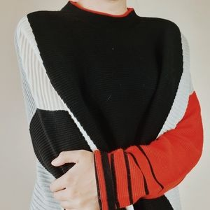 Oui black red grey white colorblock ribbed sweater